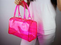 Transparent Clear Neon Light Bright jelly Boston Beach Bag Handbag Purse Clutch Women Handmade Rose Pink