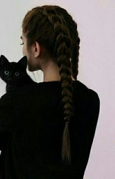 aesthetic / girl / black cat / animals / braided hair / long hair / pink backgro… – Best Art images in 2019