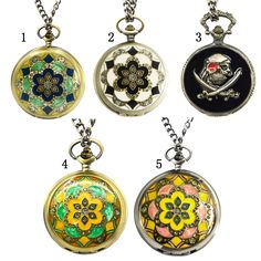 Vintage Retro Fancy Blossom Pendant Pocket Quartz Fob Chain Watch Clock