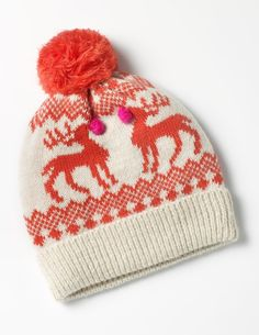 This supersoft hat will keep ears toasty on blustery walks, while the festive print and fluffy bobble are bound to cheer up the gloomiest of days. After all, what's a little drizzle when there's a troupe of reindeer on your head?