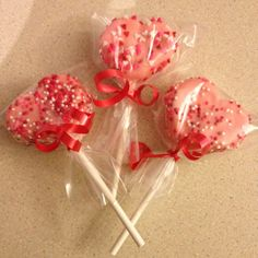 Valentine marshmallow pops for Owen's class today.