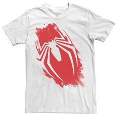 Men's Marvel Spider-Man Brush Logo Graphic Tee, Size: Medium, White