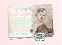 Printable Vintage Rustic Birthday Invitation, pink teal with vintage lace and pearls birthday invite, Digital File Shabby Chic Birthday Party Ideas, Rustic Birthday, Print Your Photos, 6 Photos, Baby First Birthday, Get The Party Started, Vintage Lace, Birthday Invitations, Your Cards