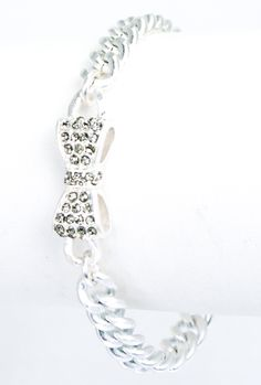 Friends Always Rhinestone Bow Toggle Bracelet in Mate Silver