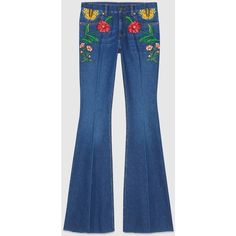 Gucci Garden Exclusive Denim Pant (€1.195) ❤ liked on Polyvore featuring gucci