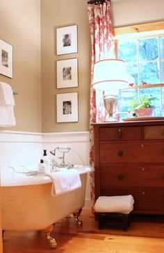 Paige, the three photos hung vertically and the dresser in the bathroom Master Bathroom, Cozy Bathroom, Downstairs Bathroom, Washroom, Bathroom Ideas, Dream Home Design, Home Interior Design, House Design, Cottage Bath