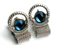 Bright Blue ART DECO Cufflinks Vintage Mens by JewelryQuestDesign, $32.99