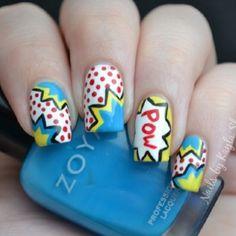 Comic nails, manicure, nail art, nails