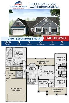 Get to know Plan 348-00298, a design covered in Craftsman details and featured with 1,637 sq. ft., 3 bedrooms, 2 bathrooms, a covered porch, a flex room and a breakfast nook. Learn more about this Craftsman design and more on our website! Craftsman Style Homes, Craftsman House Plans, Floor Plan Drawing, Flex Room, Best House Plans, Architectural Elements, Great Rooms, Square Feet, Cover Design