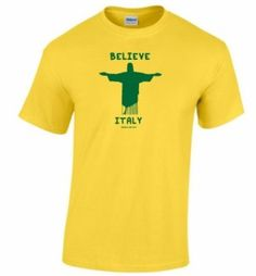 Italy Believe World Cup T-Shirt available at http://www.world-cup-products-worldwide.com/italy-believe-2014-football-world-cup-mens-yellow-t-shirt/