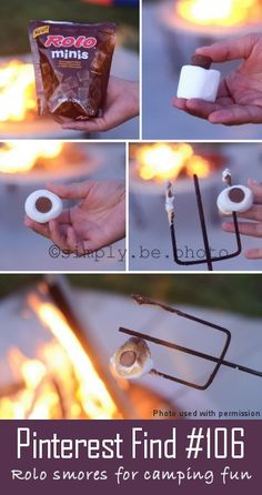 Rolo Smores for camping fun. Rolos are the best and so combining them with a Smore idea is even better!