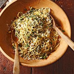 Angel Hair with Walnut Pesto Pesto can be made ahead and kept tightly covered in the refrigerator for up to 1 week.
