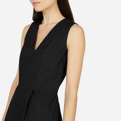 Everlane   The Cotton Poplin Sleeveless V-Neck Flare Dress