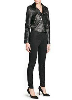 MANGO - CLOTHING - Jackets - Zippers leather biker jacket