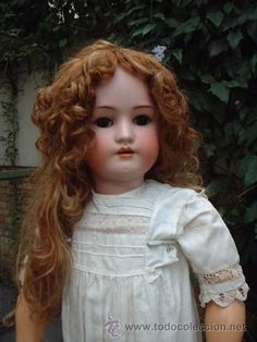 Inmensa muñeca antigua cabeza de porcelana SIMON HALBIG & HANDWERCK 75 CM, ESPECTACULAR