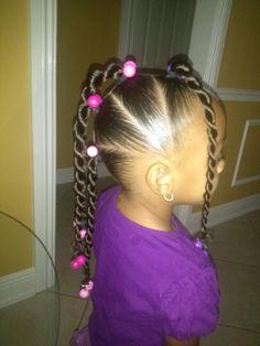 thetruemetalmaniac: Little Black girl Hairstyles thoughts cute little black girl hair styles - Hair Style Girl Little Girl Ponytails, Black Little Girl Hairstyles, Baby Girl Hairstyles, Kids Braided Hairstyles, Ponytail Hairstyles, Ponytail Ideas, Short Hairstyles, Ponytail Wrap, Stylish Hairstyles