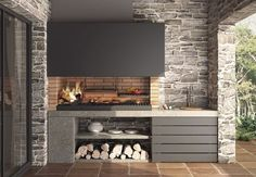 45 Exceptional Outdoor Kitchen Ideas and Designs to Makeover Your Home - Contemporary Modern Kitchen Ideas, Small Kitchen Renovation, DIY, Designblaz Modern Outdoor Kitchen, Outdoor Kitchen Bars, Backyard Kitchen, Parrilla Interior, Grill Bar, Cheap Renovations, Cuisines Design, Küchen Design, Design Ideas