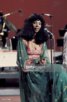 American singer Donna Summer in concert in the seventies in France.