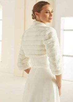 You'll feel like your dreaming with this lovely and soft faux fur bolero. With length sleeves, and made from wonderfully soft faux fur, will keep your shoulders warm without compromising on style or comfort. Faux Fur Bolero, Bridal Bolero, Veil, Bridal Dresses, Marie, High Neck Dress, Elegant, Corsets, Wedding