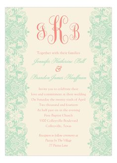 Mint And Coral Invitation from Polka Dot Design