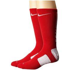 Nike Elite Basketball Crew (University Red/White/White) Crew Cut Socks ($14) ❤ liked on Polyvore featuring intimates, hosiery, socks, red crew socks, sweat wicking socks, nike, cuff socks and red socks
