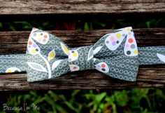 Boys Bow Tie  Decadent Floral on Black Cotton by becauseimme