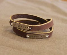Metal Stamped Leather Wrap Bracelet - Sometimes Homemade (attaching metal to leather with jump rings)