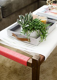 I love a good hack! I mean, who doesn't? I saw this woven wrap bench from CB2 and… you know what happened, that thought that plagues all us DIYers danced in my head, 'hey, I can make that!' It's an