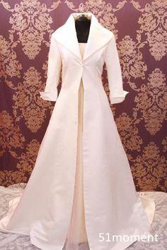 2015 Bridal Cape Wedding Cloaks 3/4 Sleeve White Ivory Winter Long Wraps Jackets #CloaksCapes