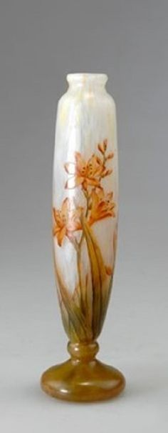 Henri Bergé (1870–1937)     Vase Montbretias      cased and etched glass w/ inclusions     23.2 cm. (9.1 in.)