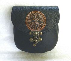 CELTIC  BLACK  BELT POUCH / bum bag  STEAMPUNK  MEDIEVAL SCA LARP sporran