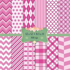 Digital Paper Holiday Scrapbook Zigzag Polkadot Diagonal Single Ireland Celebrate Event Pattern Birthday Vintage Digital Set Stripe Dot