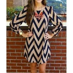 Nude And Navy Long Sleve Size Medium Chevron Dress $18.93