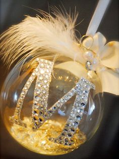Monogram Rhinestone Ornament    What you need: Clear Christmas ornament; vinyl or a letter sticker; rhinestones; and various embellishments of your choosing     How to make it: Use vinyl or a letter sticker to cut out a monogram and place on the ornament. For added glitz, press crystal rhinestones on top of the letters shape. Fill the inside of the ornament with glitter, beads, or other filler of choice. Finish adorning the ornament with embellishments like feathers, ribbon, and tulle.