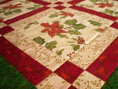 PATCHWORK MILL: Bright Red Poinsettia Table Runner and Table Topper for Christmas