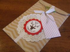 *Stampin' Up, by Amy Frillici, Gathering Inkspiration, order products online at amysuzanne.stampinup.net, tag a bag gift bag, burlap ribbon, very merry tags, lace paper doilies, pretty presents designer tags, season of style washi tape