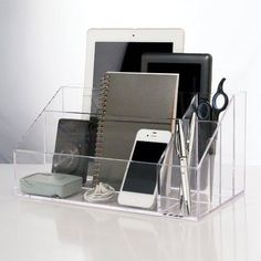 Also makes a great vanity organizer for those larger bottles and brushes! New US Acrylic® Clear Acrylic Desktop Organizer. Clear acrylic fits in any decor. Attic Renovation, Attic Remodel, Desktop Organization, Storage Organization, Box Storage, Muji Storage, Attic Wardrobe, Attic Closet, Small Attics