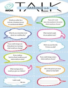 More conversation starters with your spouse...Marriage Talk 2.0 from imom.com