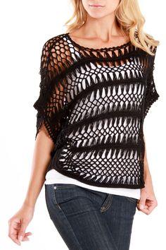 True Grit Michelle Sweater In blusas blusas Black - Beyond the Rack Crochet Blouse, Crochet Poncho, Crochet Top, Sweater Knitting Patterns, Knitting Stitches, Crochet Market Bag, Hairpin Lace, Summer Knitting, Crochet Woman