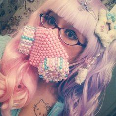 Any Kandi gas masks that were a bit too pink for me would have to change the colors - kandi bracelets Kandi Patterns, Beading Patterns, Rave Mask, Kandi Bracelets, Rave Gear, Electric Daisy Carnival, Diy Mask, Pony Beads, Rave Outfits