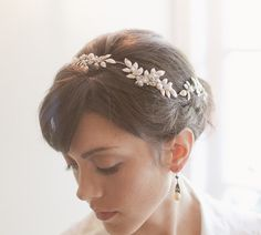 Wedding crown bridal hair piece bridal by EricaElizabethDesign  I like the leaves