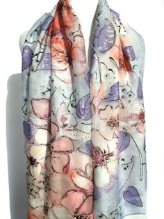 Hand Painted Silk Scarf Luxury Heavy Shawl Birthday Gift for