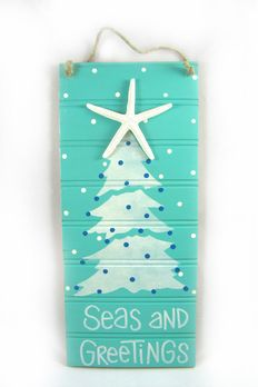 Coastal Christmas door decoration or hallway greeting Coastal Christmas Decor, Nautical Christmas, Christmas Door Decorations, Christmas Signs, Christmas Projects, Holiday Crafts, Holiday Fun, Christmas Holidays, Xmas