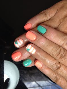 Nails shellac gelish gel nails nails art stripes heart teal orange neon white summer nails
