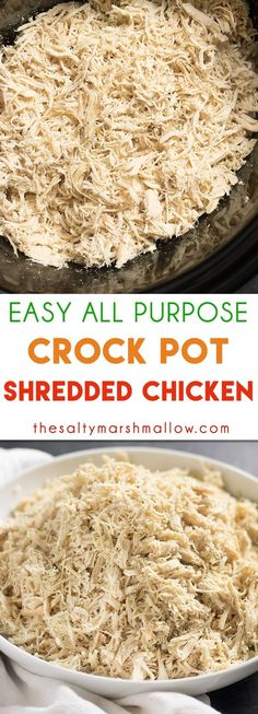 Easy All Purpose Shredded Chicken recipe made in the crock pot! This chicken is tender and juicy and can be made ahead to freeze and use later in your favorite tacos, sandwiches, wraps, and the list goes on!