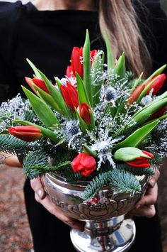 I would have not considered tulips with Christmas greens. Love the silver container