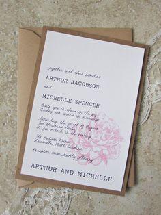 Rustic Pink Peony Wedding Invitation  Vintage by RiverCityStudio, $6.00