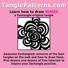 Step-by-step instructions to learn how to draw the Zentangle-original tangle pattern: Bunzo