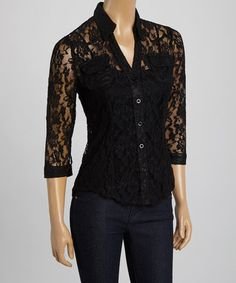 Another great find on #zulily! Black Lace Button-Up Blouse by Simply Irresistible #zulilyfinds