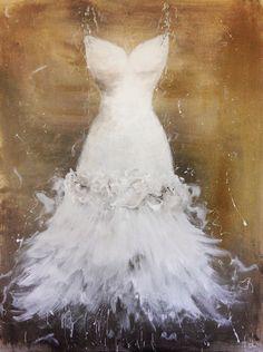 Custom ordered painting of a Wedding dress- By artist Anita Felix.